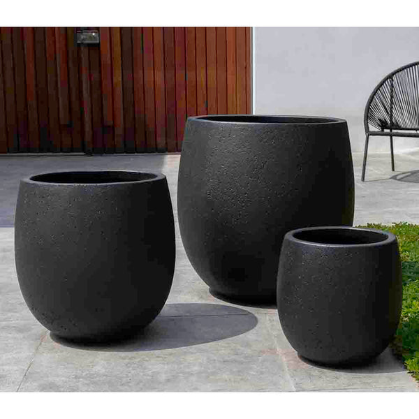 Playa Noche Black Fiber Cement Barrel Planters – Set of 3