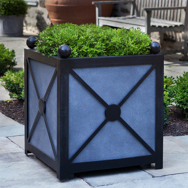 Small Geometric Cube Planter – Dark Grey