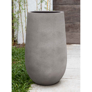 Stone Grey Tall Fiber Clay Planter – Small