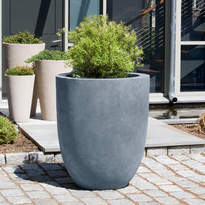 Simplicity Tall Round Indoor/Outdoor Planter - Concrete Grey