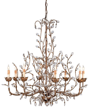 Currey and Company Crystal Bud Cupertino Large Chandelier
