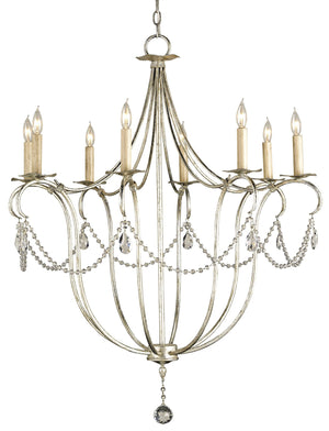 Currey and Company Crystal Lights Silver Large Chandelier