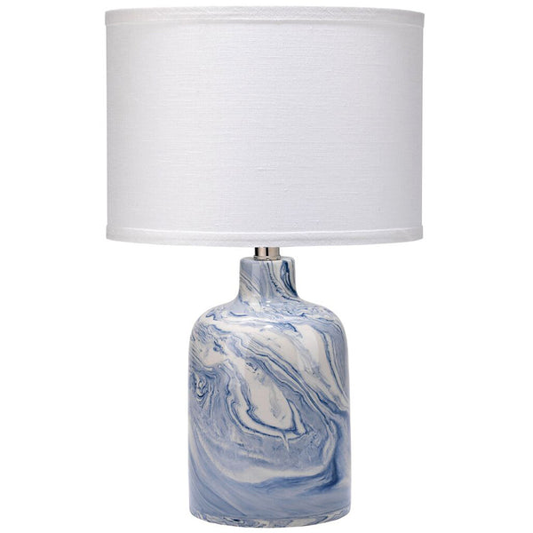 Blue & White Swirl Ceramic Jug Table Lamp with Drum Shade