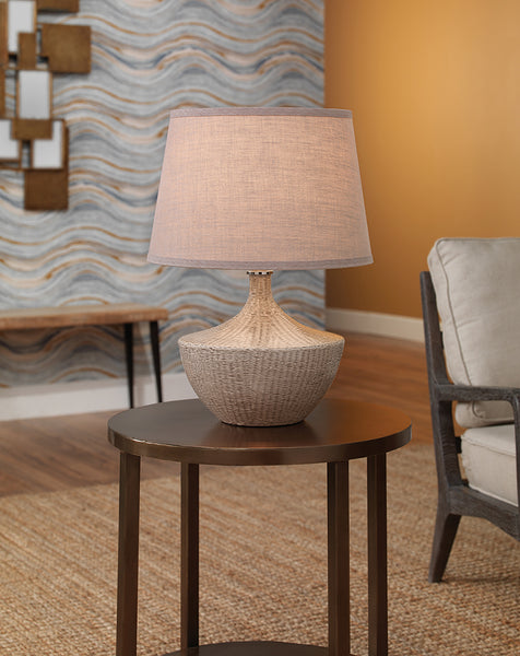 Off White Basket Weave Accent Lamp