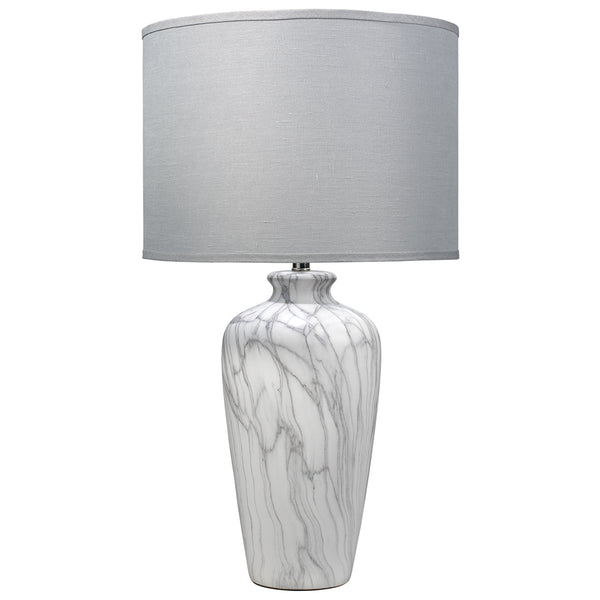 Grey Marbled Ceramic Table Lamp with Drum Shade