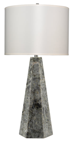 Borealis Hexagon Table Lamp in Labradorite with Large Drum Shade in White Silk