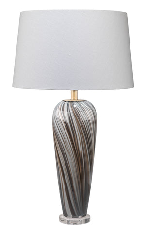 Bridgette Table Lamp in Grey & Black Swirled Glass with Cone Shade in White Linen
