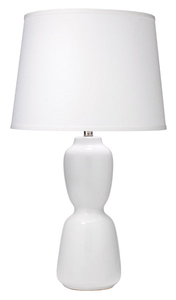 Corset Table Lamp in White Ceramic with Large Cone Shade in White Linen