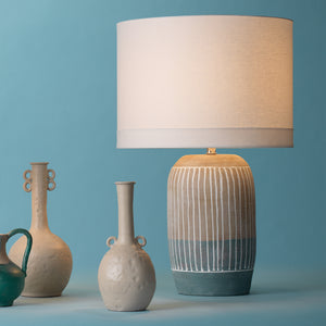 Hand Molded Ceramic Table Lamp with Linen Drum Shade
