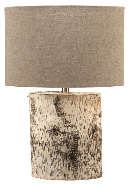 Forrester Table Lamp in Birch Veneer with  Oval Shade in Natural Linen