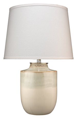 Lagoon Table Lamp in Cream Ceramic with Large Cone Shade in White Linen