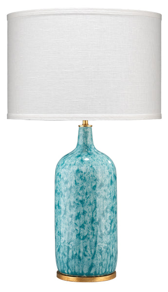 Madeline Table Lamp in Blue Ceramic with Medium Drum Shade in White Linen