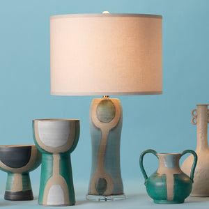 Hand Painted Ceramic Table Lamp with Linen Drum Shade
