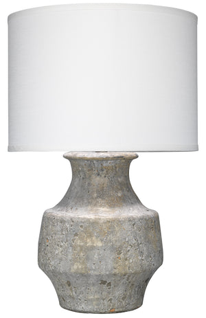 Masonry Table Lamp in Grey Ceramic with Classic Drum Shade in White Linen