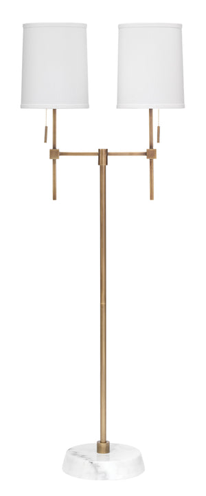 Minerva Twin Shade Floor Lamp in Antique Brass Metal & White Marble