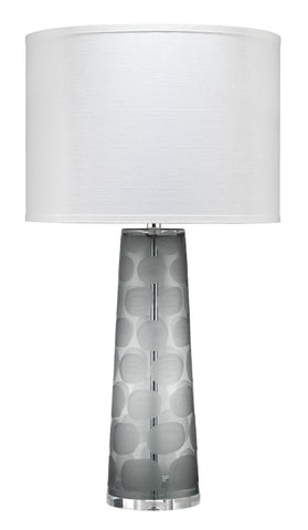 Pebble Table Lamp, Large in Grey Glass with Large Drum Shade in White Linen
