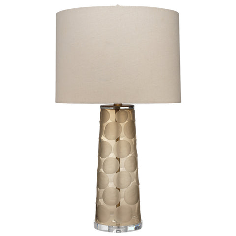 Etched Glass Pebbles Table Lamp with Linen Shade