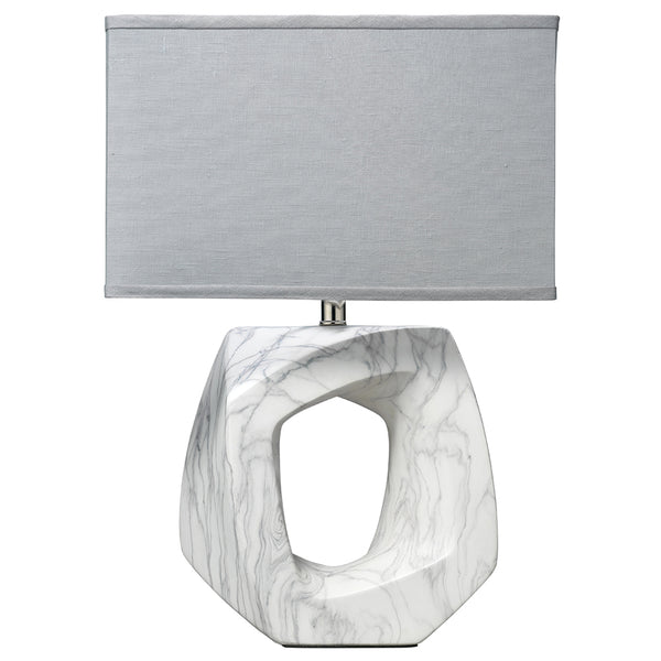 Abstract Marbled Ceramic Table Lamp with Rectangle Shade