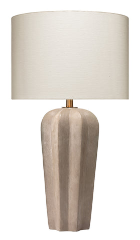 Regal Table Lamp in Grey Cement with Drum Shade in Off White Linen