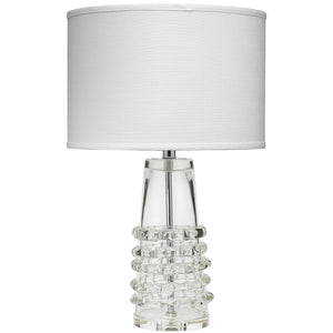 Tall Clear Glass Table Lamp with Shade