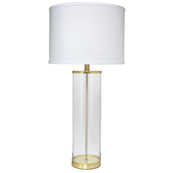 Clear Glass Column Table Lamp with Drum Shade – Brass