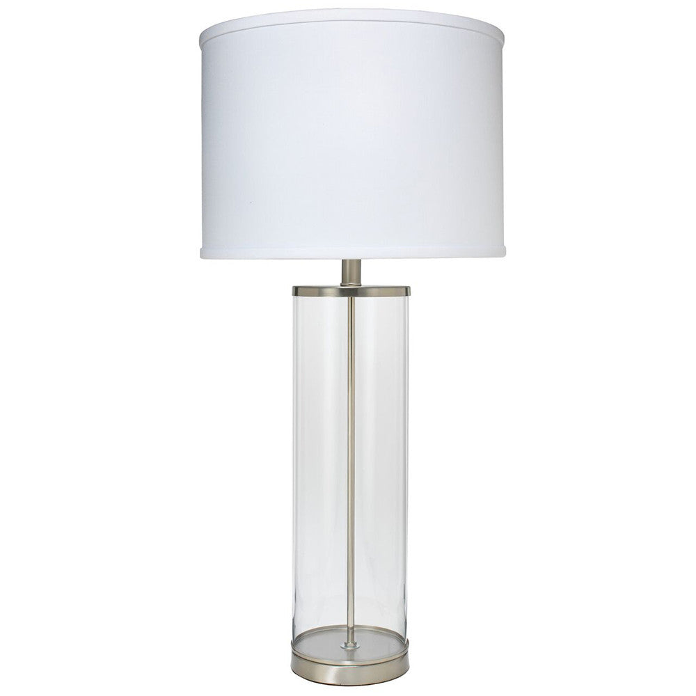 Clear Glass Column Table Lamp with Drum Shade – Nickel