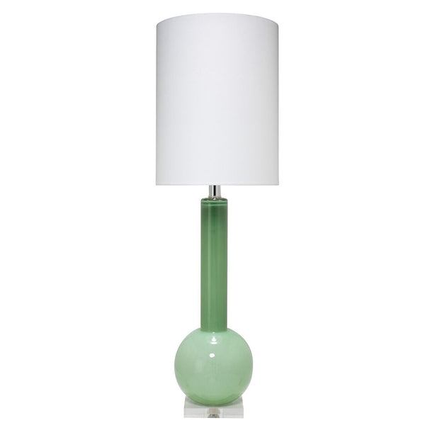 Tall Glass Table Lamp with Drum Shade – Leaf Green