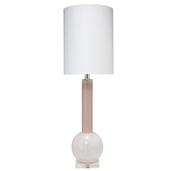 Tall Glass Table Lamp with Drum Shade – Petal Pink