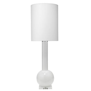 Tall Glass Table Lamp with Drum Shade – White