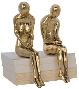 Noir Irao Couple Statue, Large, Brass