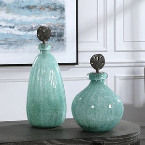 Uttermost Mellita Aqua Glass Bottles, S/2