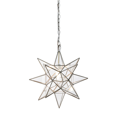 Worlds Away Small Glass Star Chandelier – Clear Glass