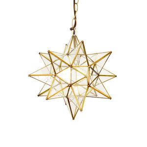 Worlds Away Large Star Pendant Light - Brass & Clear