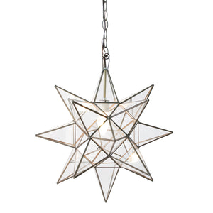 Worlds Away Large Glass Star Chandelier – Clear Glass