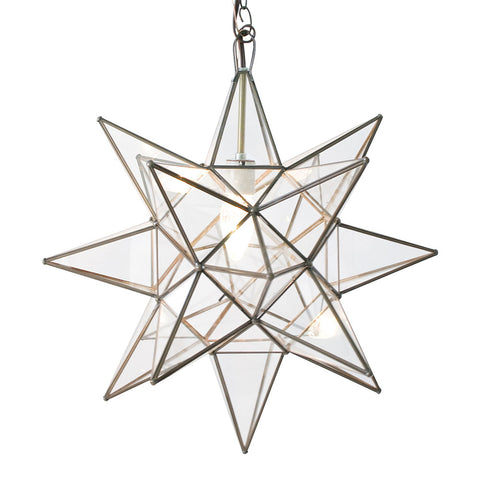 Worlds Away Extra Large Glass Star Chandelier – Clear Glass