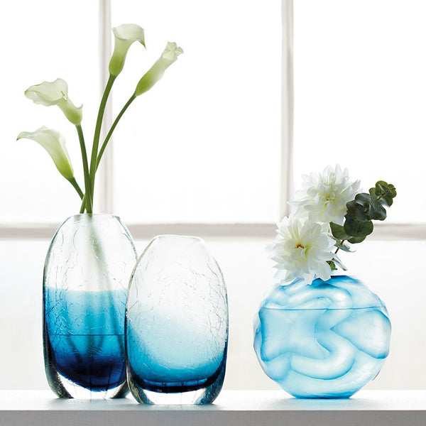 Bungalow 5 Small Handblown Crackled Glass Vase – Blue