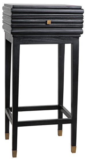 Noir Kitame Side Table with Drawer, Charcoal Black