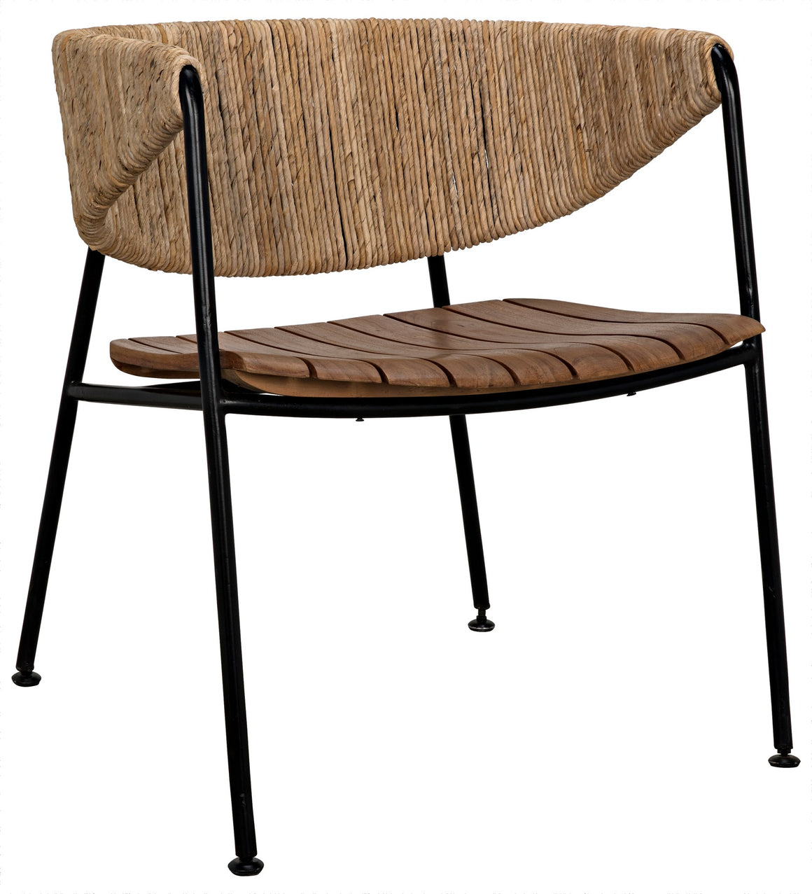 Noir Helena Curved Back Armless Chair - Sea Grass