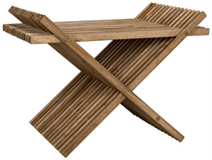 Noir Dede Slatted Criss-Cross Stool - Natural Teak