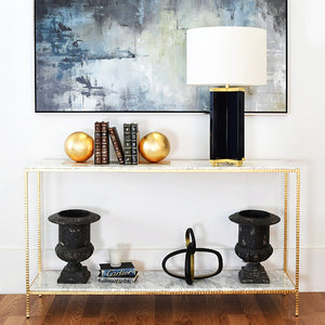 Worlds Away Agnes Hammered Textured Console - Gold Leaf