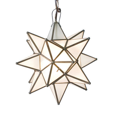 Worlds Away Extra Large Glass Star Chandelier – Frosted Glass