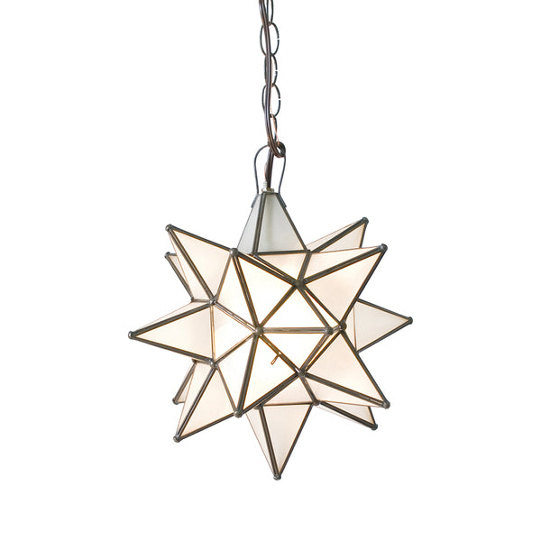 Worlds Away Large Glass Star Chandelier – Frosted Glass