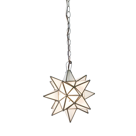 Worlds Away Small Glass Star Chandelier – Frosted Glass