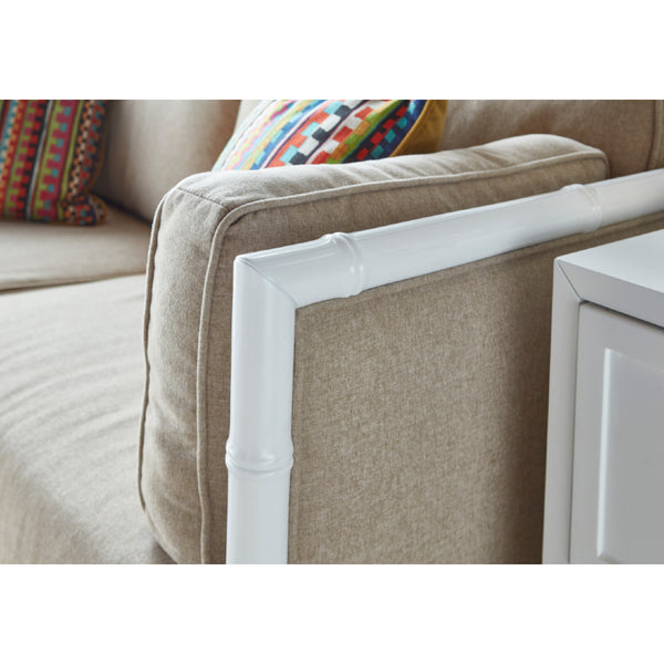 Worlds Away Bamboo Framed White Lacquer Sofa – Natural Linen