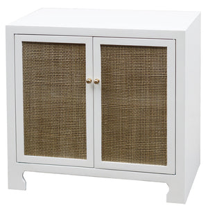 Worlds Away Lacquer Two Door Cane Cabinet – White