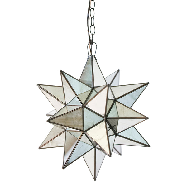 Worlds Away Large Glass Star Chandelier – Antique Mirror