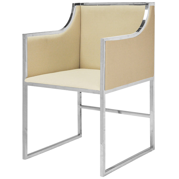 Worlds Away Vinyl Chair with Nickel Frame – Herringbone