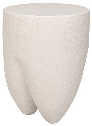 Noir Donald Side Table, White Fiber Cement