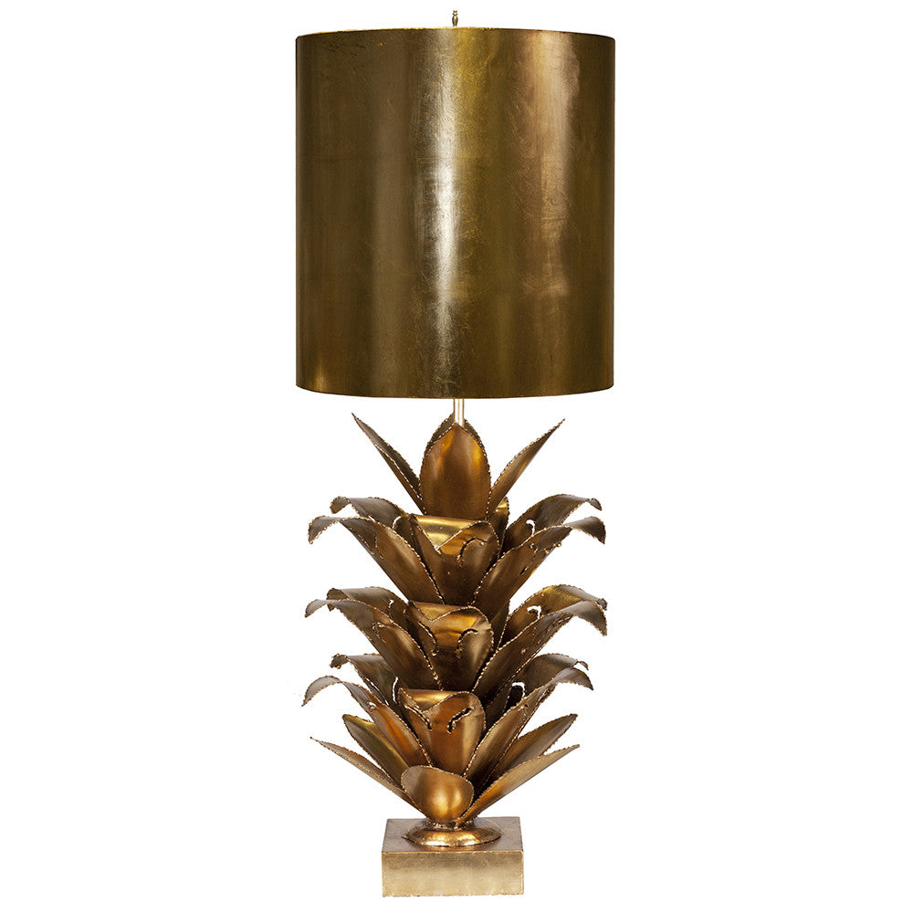 Worlds Away Metal Table Lamp with Palm Leaves – Gold Leaf