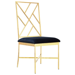 Worlds Away Gold Fretwork Chair with Navy Velvet Seat